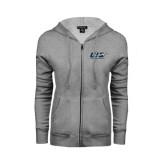 ENZA Ladies Grey Fleece Full Zip Hoodie-UIS Prairie Stars