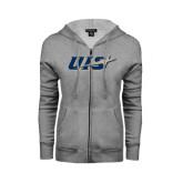 ENZA Ladies Grey Fleece Full Zip Hoodie-UIS