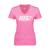 Next Level Ladies Junior Fit Ideal V Pink Tee-UIS Prairie Stars - Official Logo