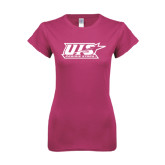 Ladies SoftStyle Junior Fitted Fuchsia Tee-UIS Prairie Stars - Official Logo