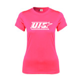 Ladies Performance Hot Pink Tee-UIS Prairie Stars - Official Logo