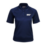 Ladies Navy Textured Saddle Shoulder Polo-UIS
