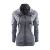 Ladies Sport Wick Stretch Full Zip Charcoal Jacket-Prairie Stars - Stacked