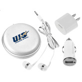 3 in 1 White Audio Travel Kit-UIS Prairie Stars - Official Logo