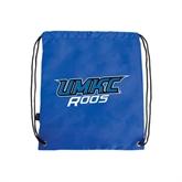 Nylon Royal Drawstring Backpack-UMKC Roos