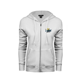 ENZA Ladies White Fleece Full Zip Hoodie-UMKC Roos w/Roo