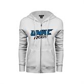 ENZA Ladies White Fleece Full Zip Hoodie-UMKC Roos
