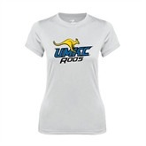 Ladies Syntrel Performance White Tee-UMKC Roos w/Roo