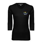 Ladies Black 3/4 Sleeve Scoop Neck-UMKC Roos w/Roo