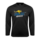 Performance Black Longsleeve Shirt-UMKC Roos w/Roo
