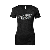 Next Level Ladies Junior Fit Black Burnout Tee-UMKC Roos w/Roo Distressed Foil