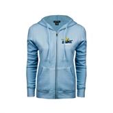 ENZA Ladies Light Blue Fleece Full Zip Hoodie-UMKC Roos w/Roo