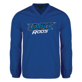 V Neck Royal Raglan Windshirt-UMKC Roos