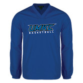 V Neck Royal Raglan Windshirt-Basketball