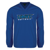 V Neck Royal Raglan Windshirt-Softball