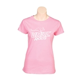 Next Level Ladies SoftStyle Junior Fitted Pink Tee-UMKC Roos with Mascot