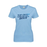 Ladies Sky Blue T Shirt-UMKC Roos w/Roo Distressed Foil