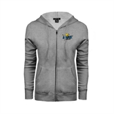 ENZA Ladies Grey Fleece Full Zip Hoodie-UMKC Roos w/Roo
