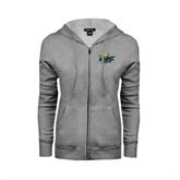 Ladies Grey Fleece Full Zip Hoodie-UMKC Roos w/Roo