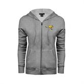 Ladies Grey Fleece Full Zip Hoodie-Roo