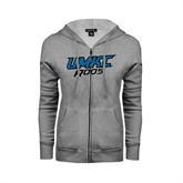ENZA Ladies Grey Fleece Full Zip Hoodie-UMKC Roos