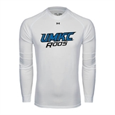 Under Armour White Long Sleeve Tech Tee-UMKC Roos