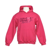 Youth Raspberry Fleece Hoodie-UMKC Roos w/Roo Distressed Foil