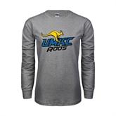 Grey Long Sleeve TShirt-UMKC Roos w/Roo