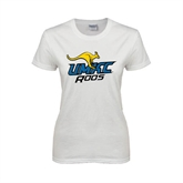 Ladies White T Shirt-UMKC Roos w/Roo