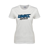 Ladies White T Shirt-UMKC Roos