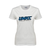 Ladies White T Shirt-Volleyball