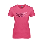 Ladies Fuchsia T Shirt-UMKC Roos w/Roo Distressed Foil