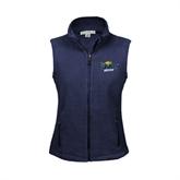 Ladies Fleece Full Zip Navy Vest-UMKC Roos w/Roo