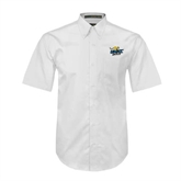 White Twill Button Down Short Sleeve-UMKC Roos w/Roo