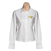 Ladies White Twill Button Down Long Sleeve-Roo
