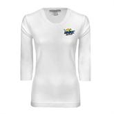 Ladies White 3/4 Sleeve Scoop Neck-UMKC Roos w/Roo