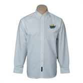 Mens White Oxford Long Sleeve Shirt-UMKC Roos w/Roo