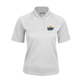 Ladies White Textured Saddle Shoulder Polo-UMKC Roos w/Roo