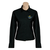 Ladies Black Twill Button Down Long Sleeve-UMKC Roos w/Roo