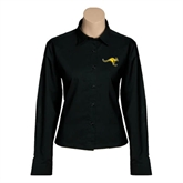 Ladies Black Twill Button Down Long Sleeve-Roo