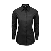 Ladies Black Tonal Pattern Long Sleeve Shirt-UMKC Roos