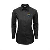 Ladies Black Tonal Pattern Long Sleeve Shirt-UMKC Roos w/Roo