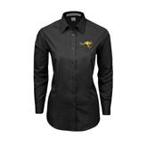 Ladies Black Tonal Pattern Long Sleeve Shirt-Roo