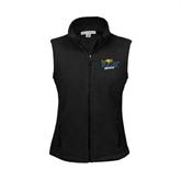 Ladies Fleece Full Zip Black Vest-UMKC Roos w/Roo