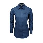 Ladies Deep Blue Tonal Pattern Long Sleeve Shirt-UMKC Roos