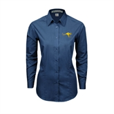 Ladies Deep Blue Tonal Pattern Long Sleeve Shirt-Roo