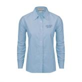Ladies Light Blue Oxford Shirt-UMKC Roos