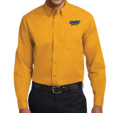 Gold Twill Button Down Long Sleeve-UMKC Roos