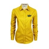 Ladies Gold Twill Button Down Long Sleeve-UMKC Roos w/Roo