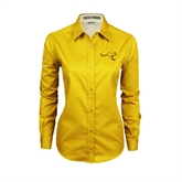 Ladies Gold Twill Button Down Long Sleeve-Roo